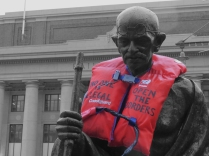Gandhi showing his support for refugees