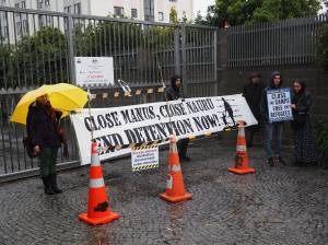 Protestors at the Australian High Commission