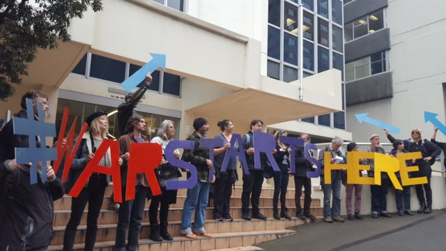 Activists outside Rolls Royce